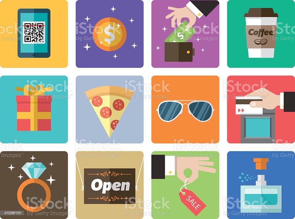 Icon Set, Shopping Mall vector art illustration