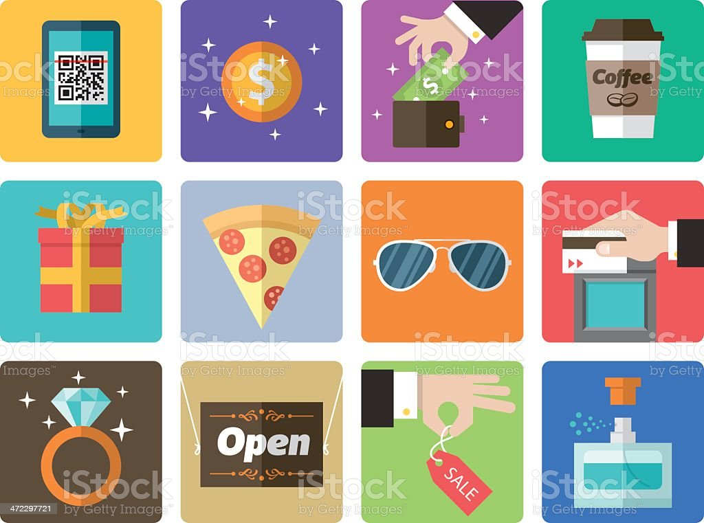 Icon Set, Shopping Mall vector art illustration