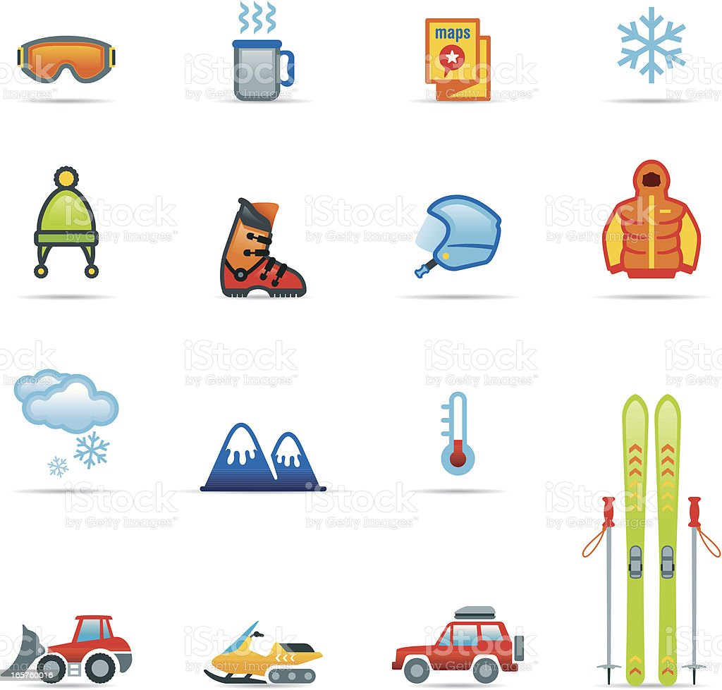Icon Set, Skiing Color royalty-free stock vector art
