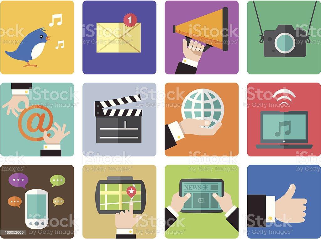 Icon Set, Social Network color vector art illustration