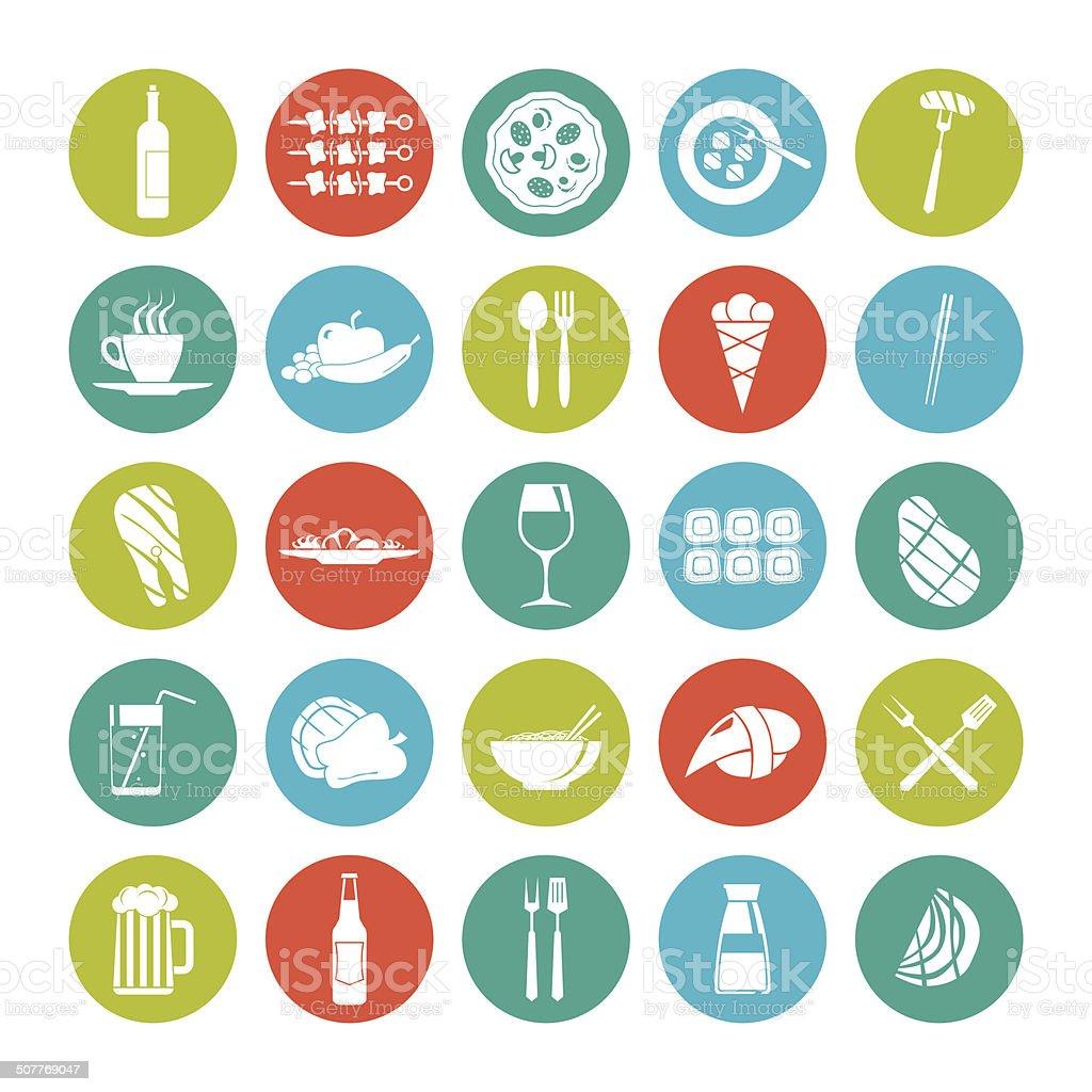 Icon set summer  food vector art illustration