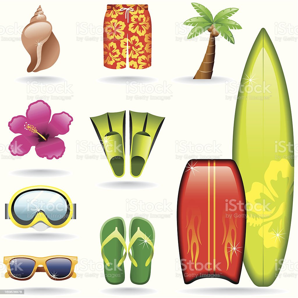 Icon Set, Surf vector art illustration