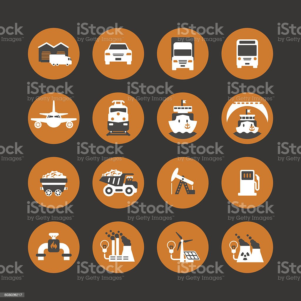 Icon set: transport, resources & energy vector art illustration
