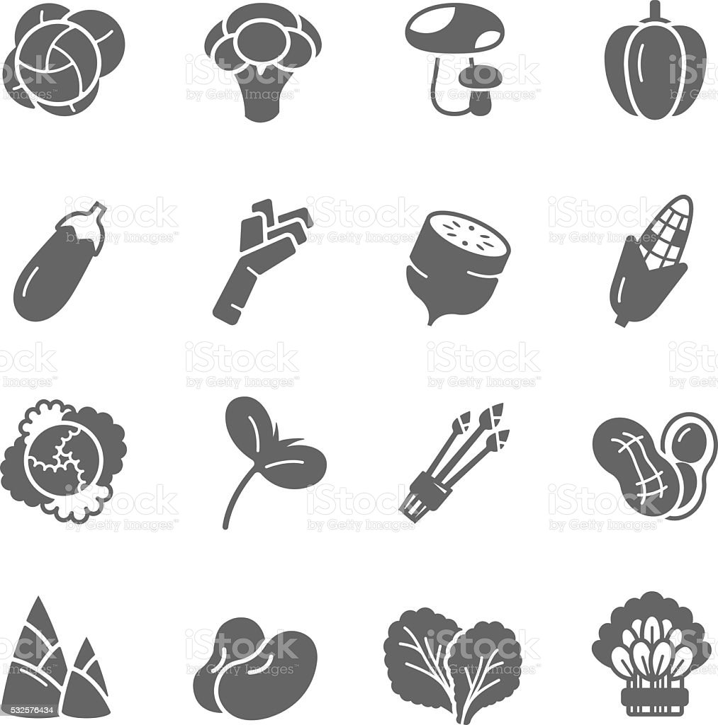 Icon set - vegetable vector art illustration