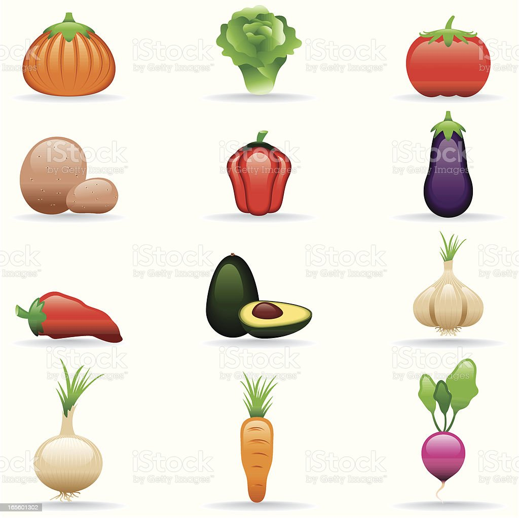 Icon Set, Vegetables royalty-free stock vector art