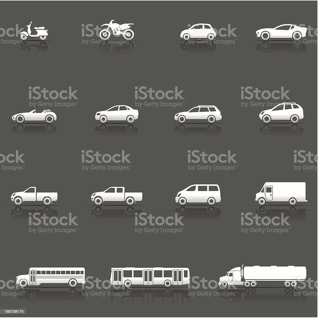 Icon Set, Vehicles and Cars vector art illustration
