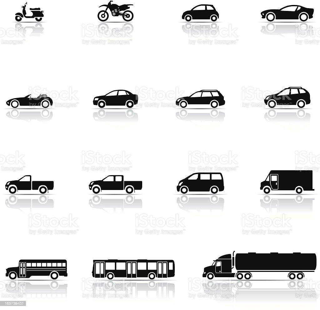 Icon set, Vehicles vector art illustration