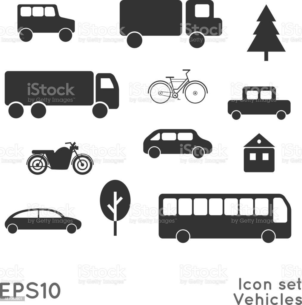 Icon set. Vehicles. vector art illustration