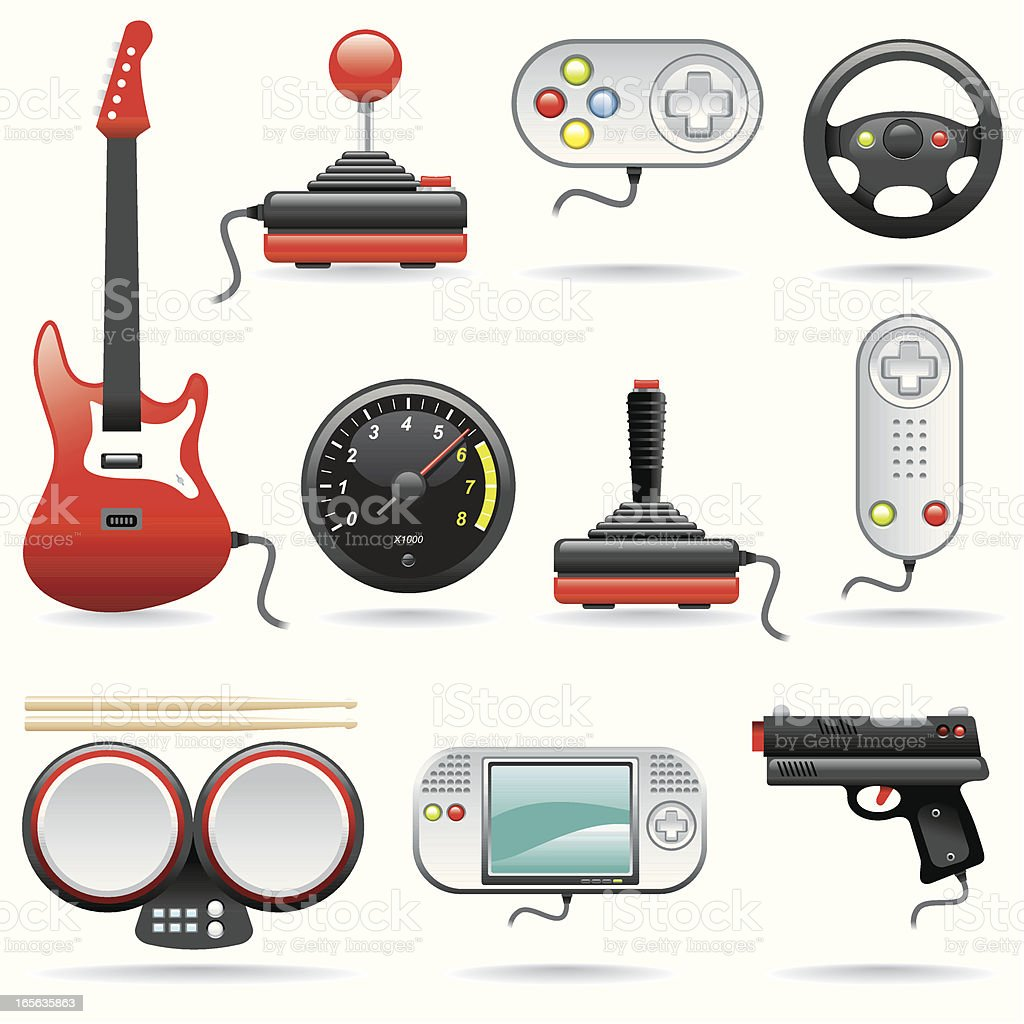 Icon Set, Video Games vector art illustration
