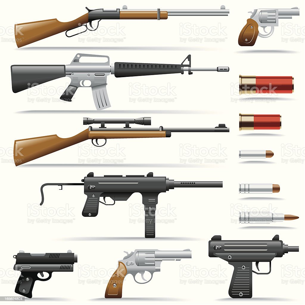Icon Set, Weapons vector art illustration