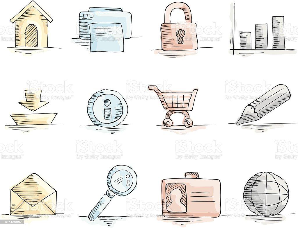 Icon Set Web vector art illustration