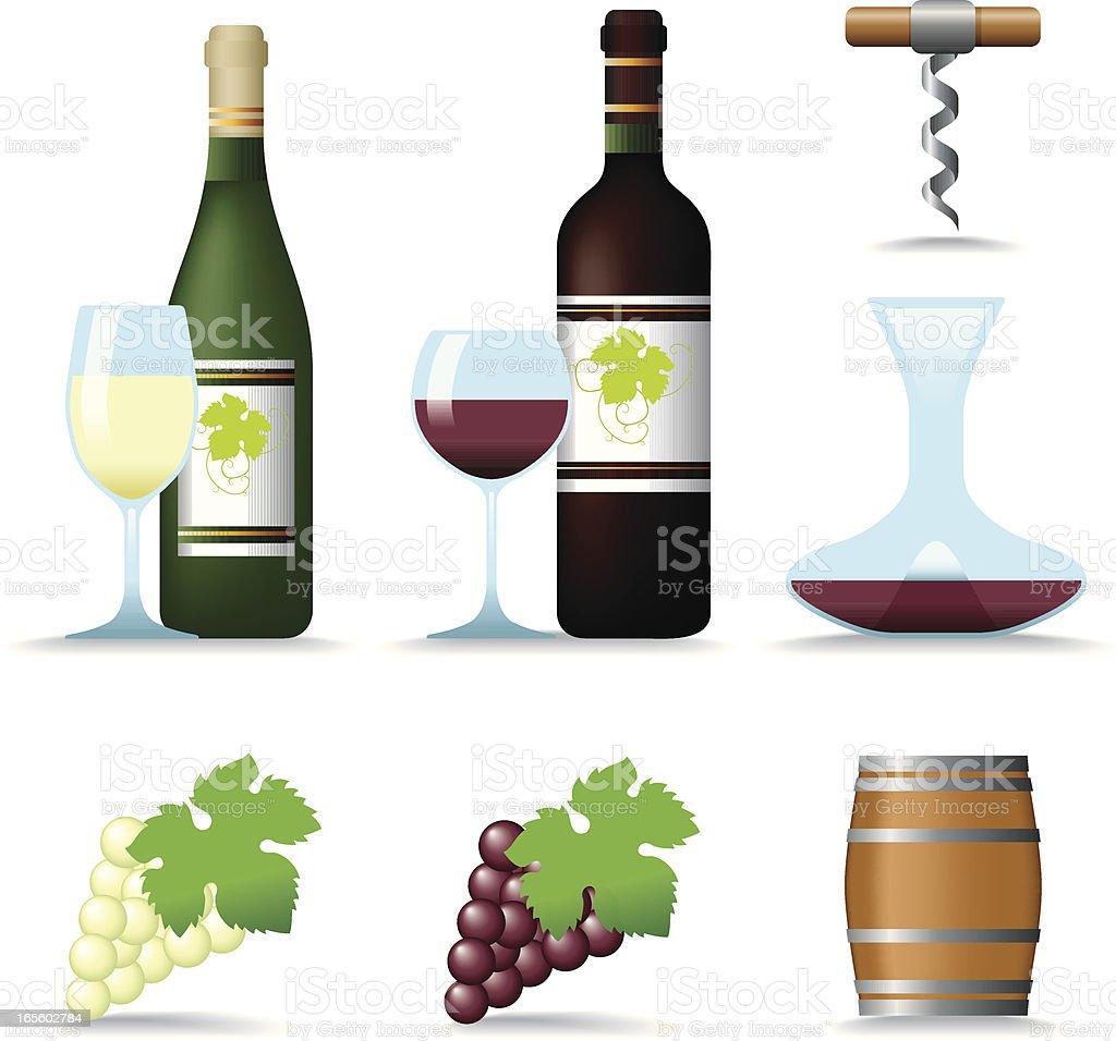 Icon Set, Wine vector art illustration