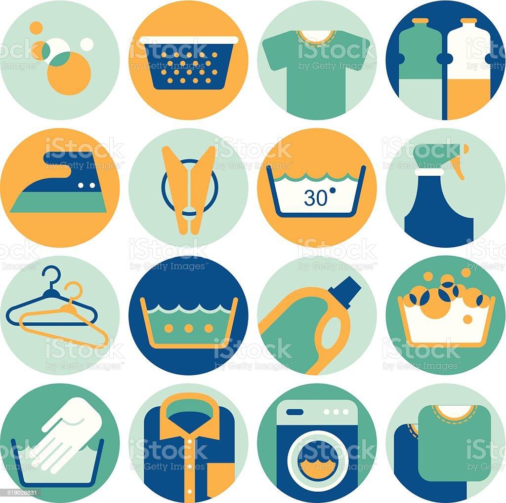 Icon set with laundry symbols vector art illustration