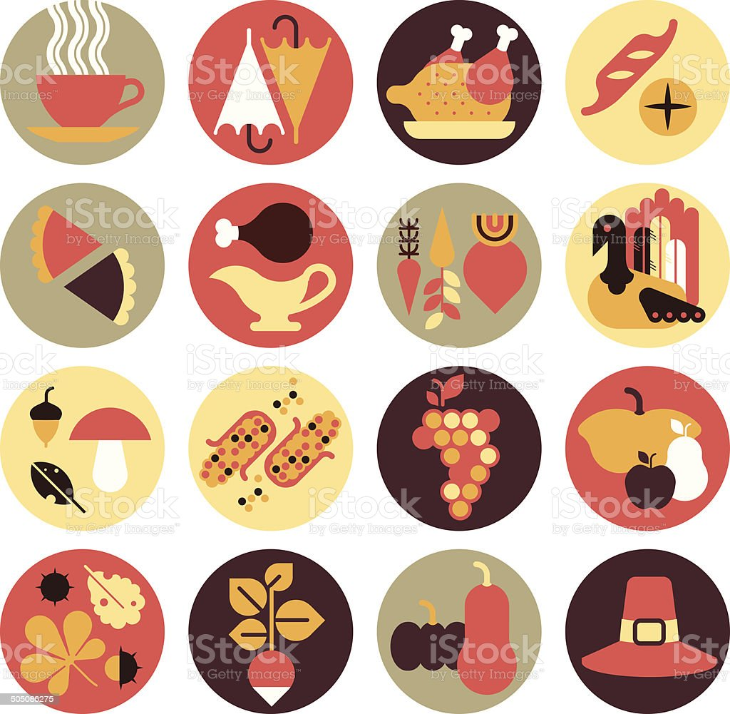 Icon set with silhouettes of holiday dinner. vector art illustration
