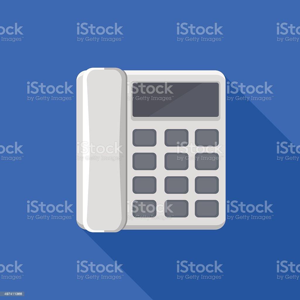 Icon square shape of landline phone in flat design vector art illustration