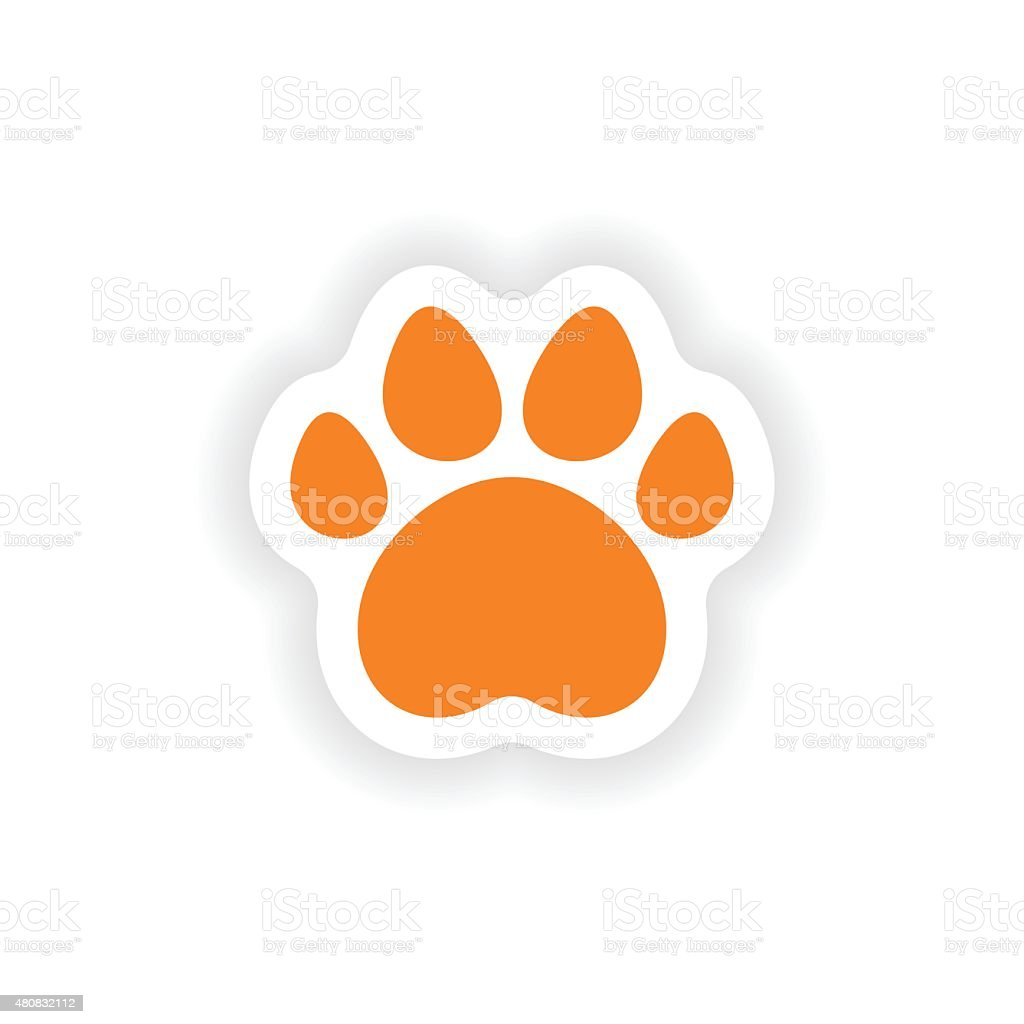 icon sticker realistic design on paper traces of animals vector art illustration