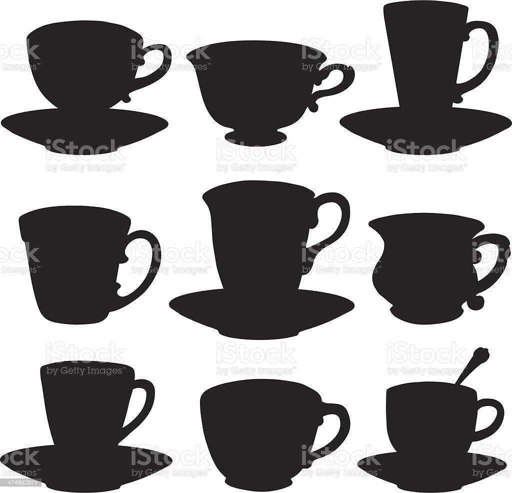 Icon tea, coffee cups, saucers vector art illustration