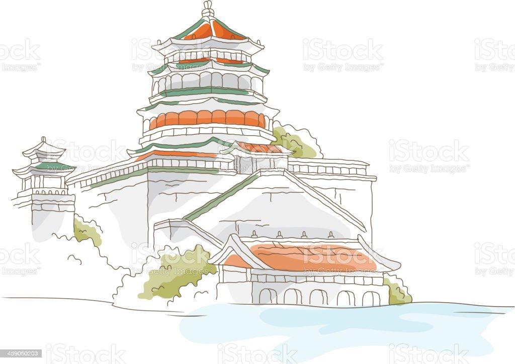 icon temple vector art illustration