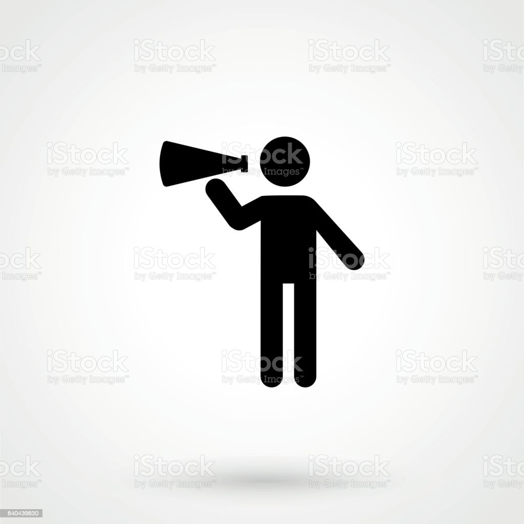 Icon vector illustration showing a stick figure holding a megaphone vector art illustration