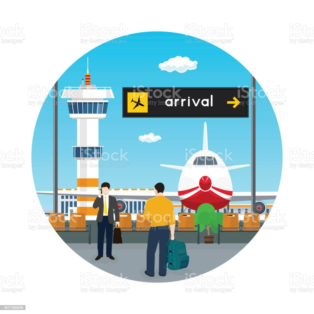 Icon Waiting Room in Airport with People vector art illustration