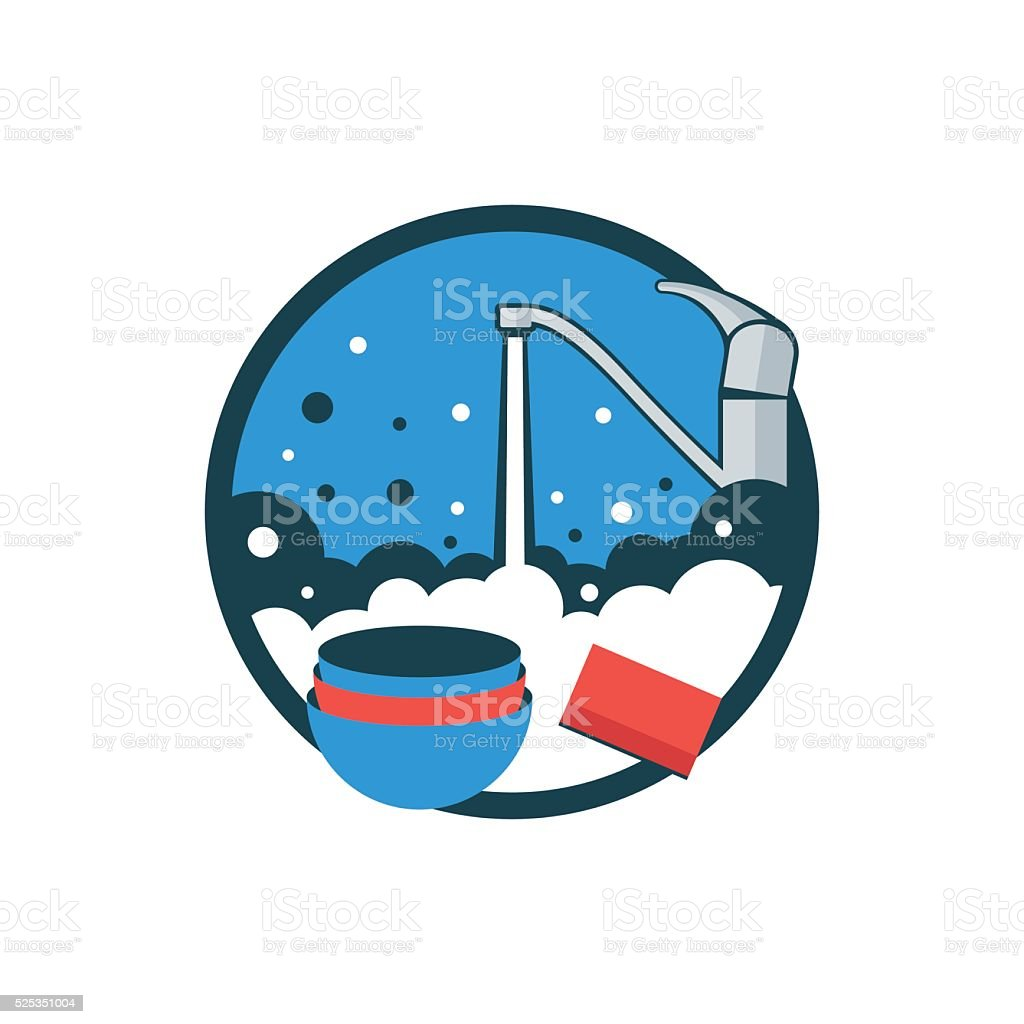 Icon washing kitchen utensils. vector art illustration