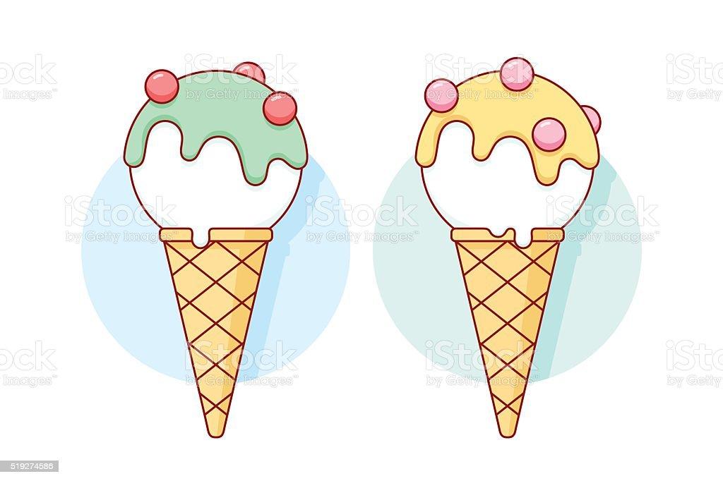 Icon white ice cream scoop in cones different pastel color vector art illustration
