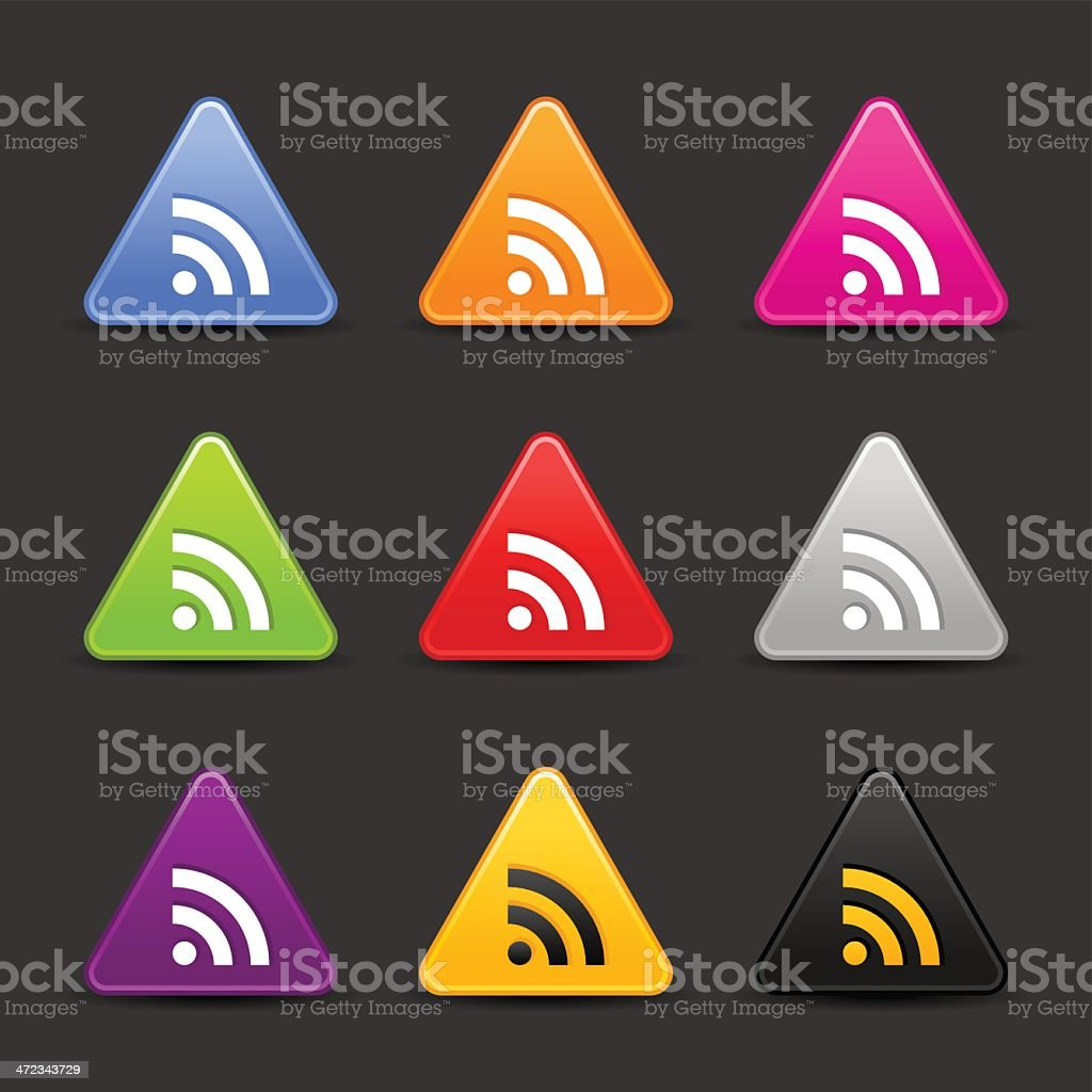RSS icon white sign triangle web button royalty-free stock vector art