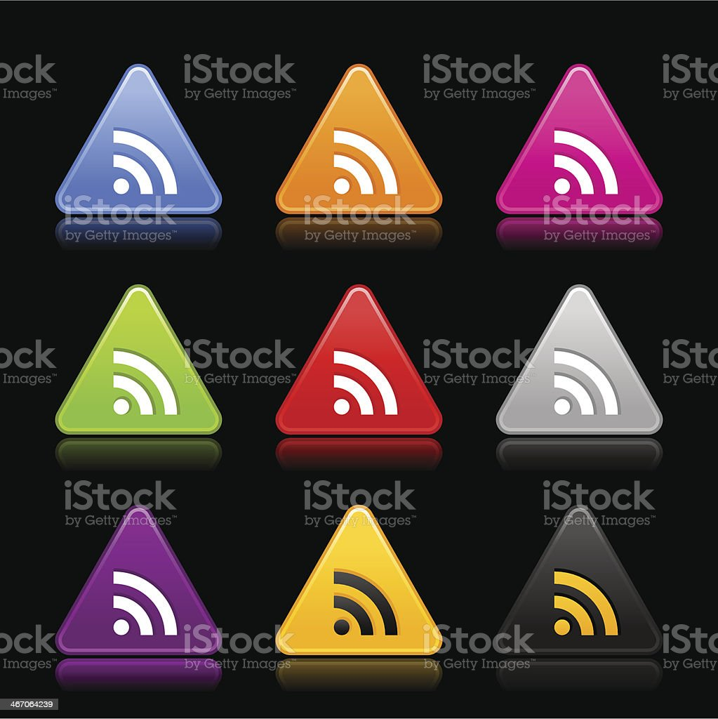 RSS icon white sign triangle web internet button black background royalty-free stock vector art