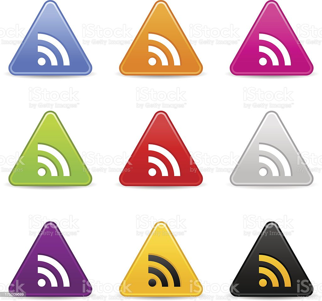 RSS icon white sign triangle web internet button royalty-free stock vector art