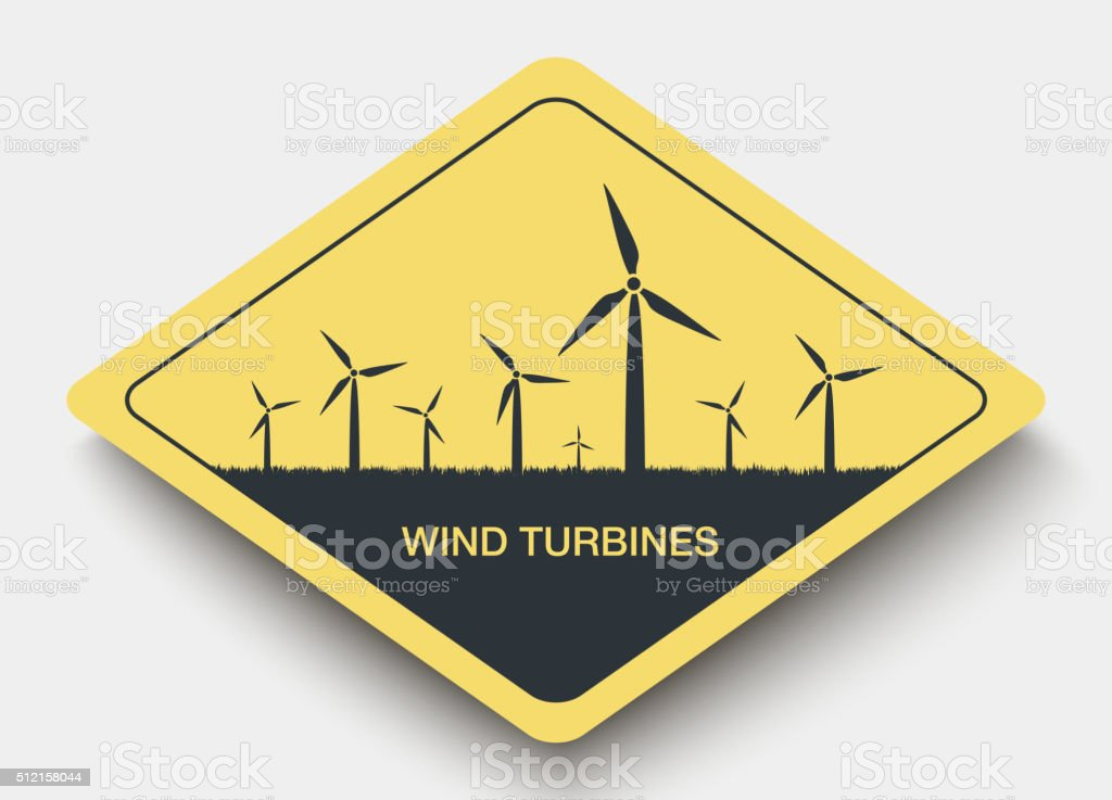 icon wind turbines and energy. vector art illustration
