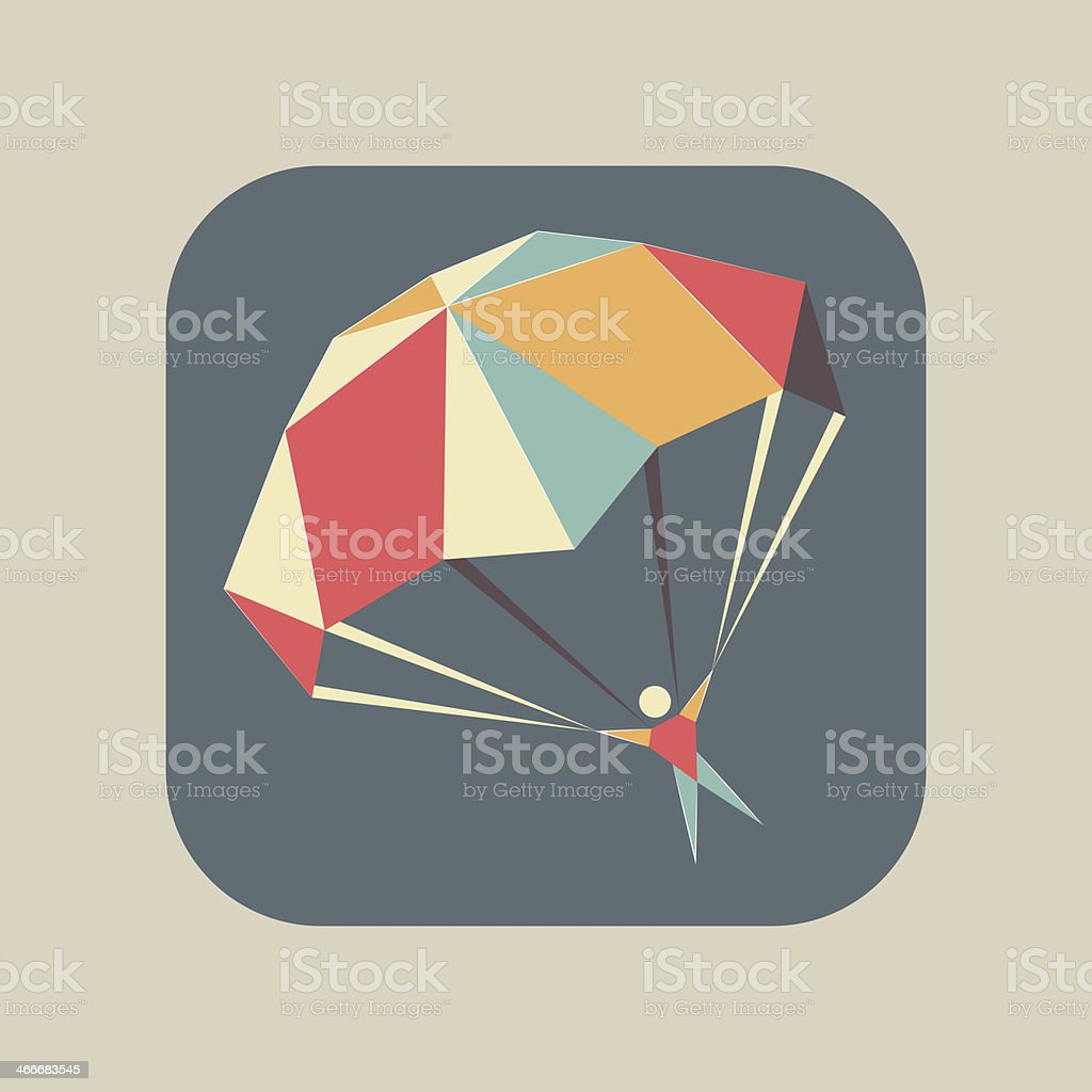 Icon with a flying skydiver and open parachute vector art illustration
