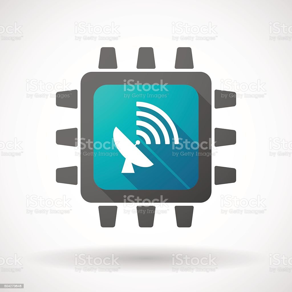 CPU icon with an antenna vector art illustration