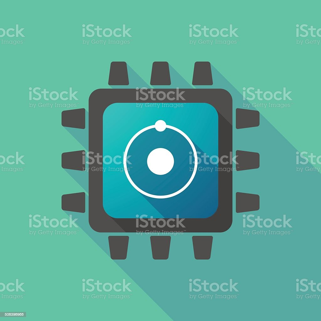 CPU icon with an atom vector art illustration