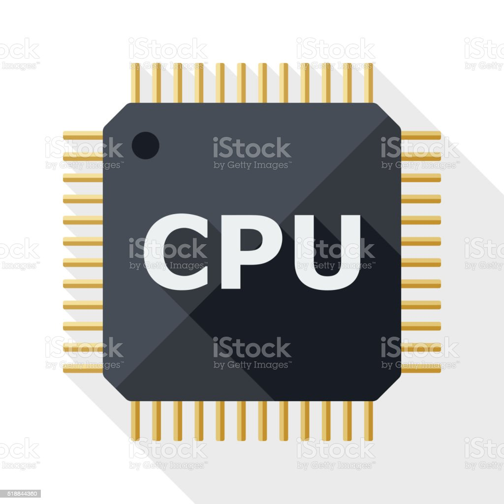 CPU icon with long shadow on white background vector art illustration