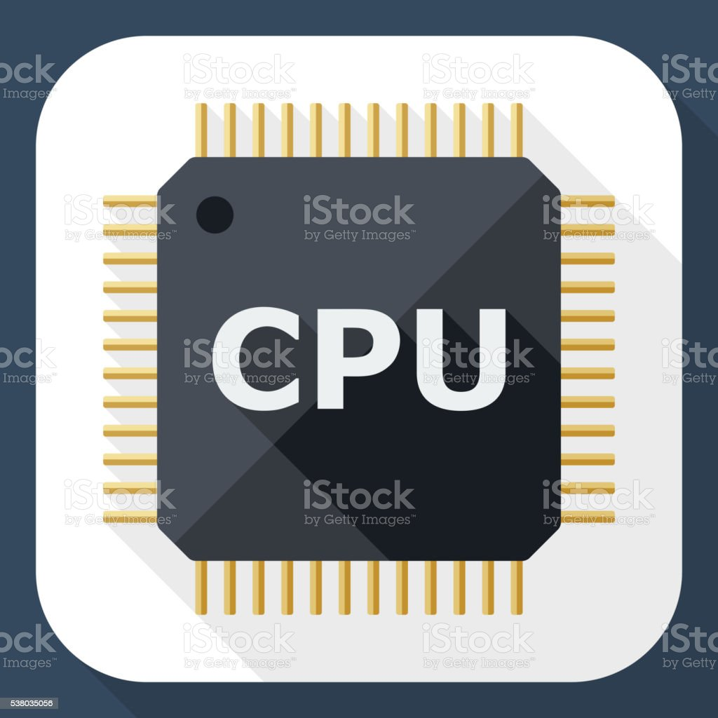 CPU icon with long shadow vector art illustration