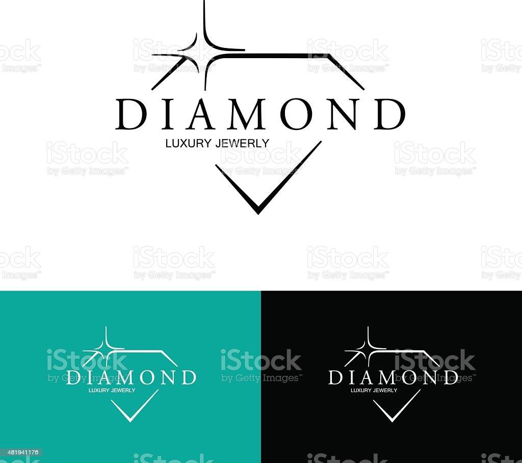 Icon with Stylized Diamond. Vector Logo. vector art illustration