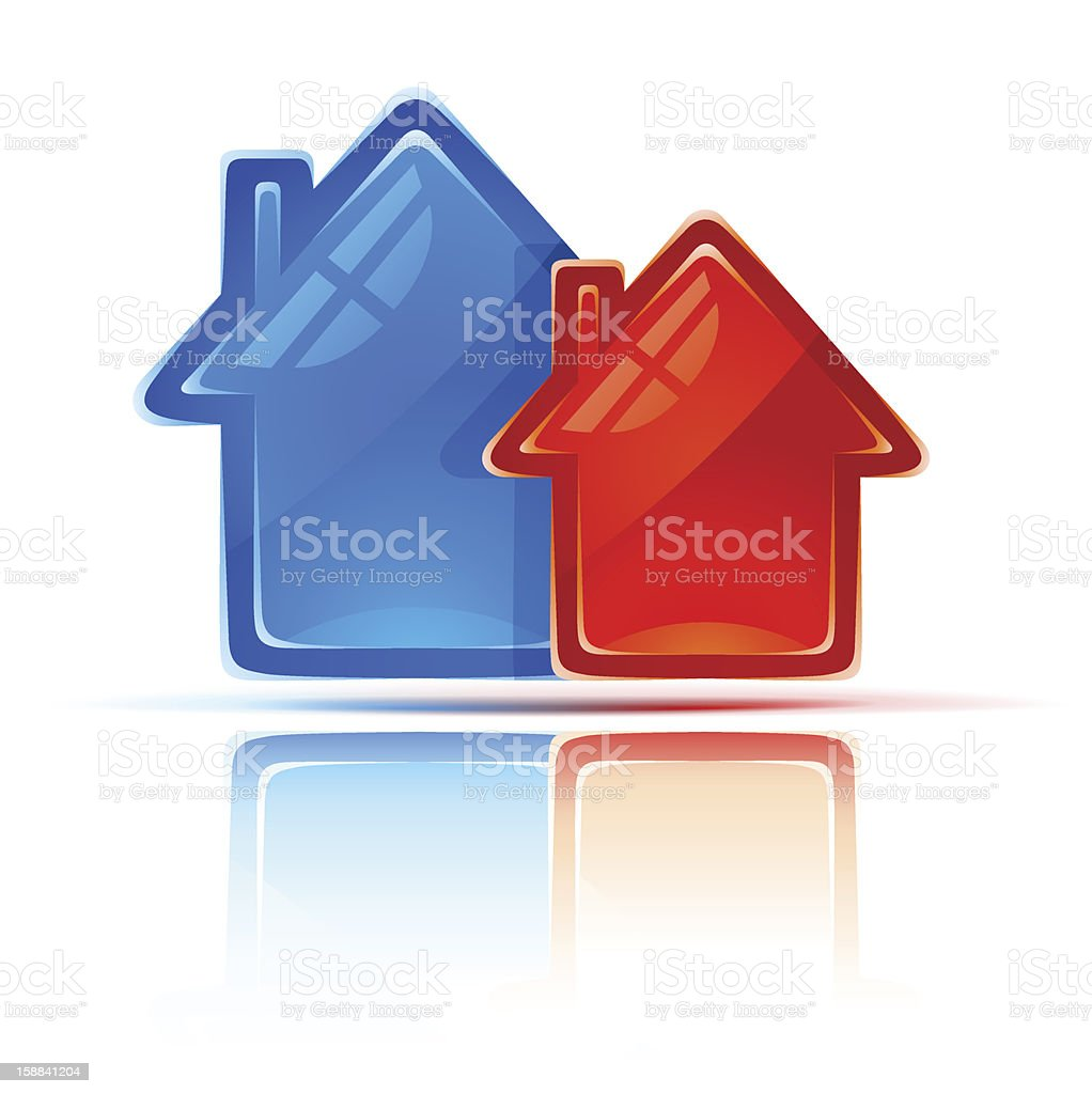 icon with two houses as symbol of real estate royalty-free stock vector art