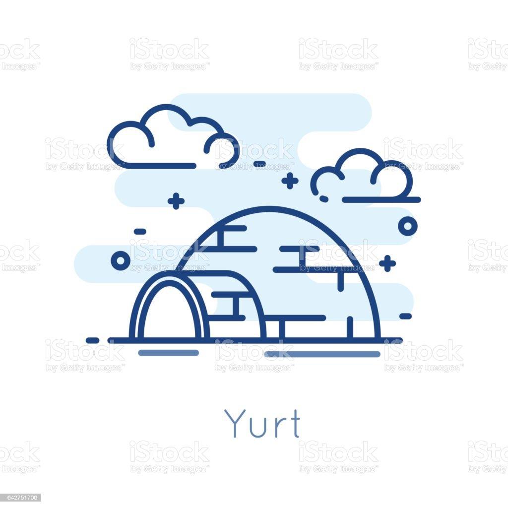 Icon Yurt on white background. Thin line flat design. vector art illustration