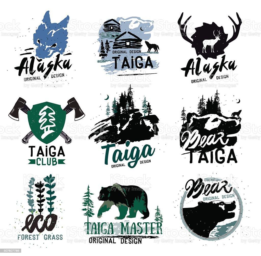 Iconic Alaska Taiga Collection vector art illustration