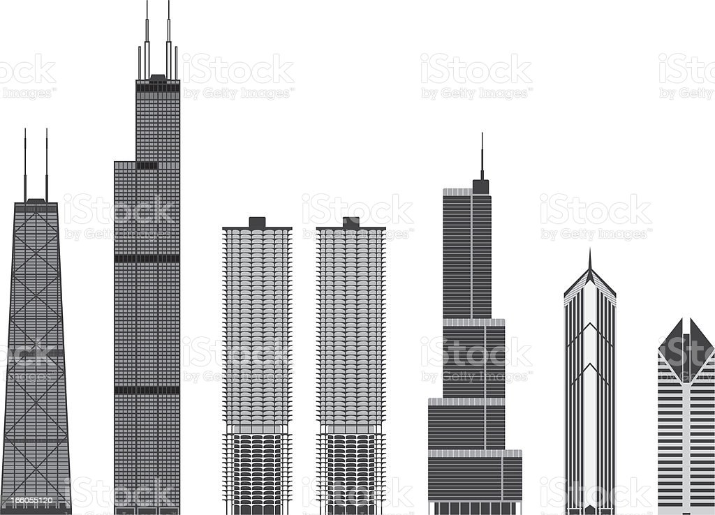 Iconic buildings of Chicago vector art illustration