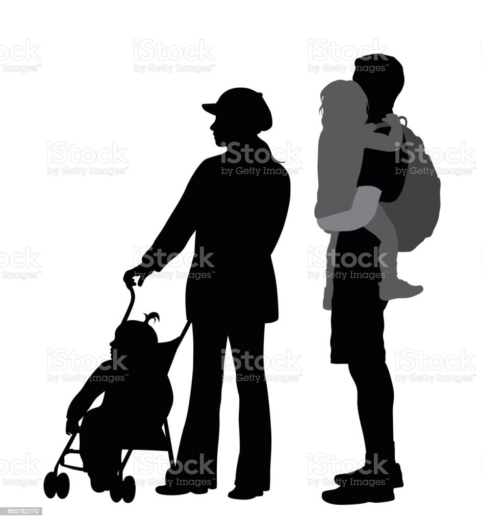 Iconic Family vector art illustration