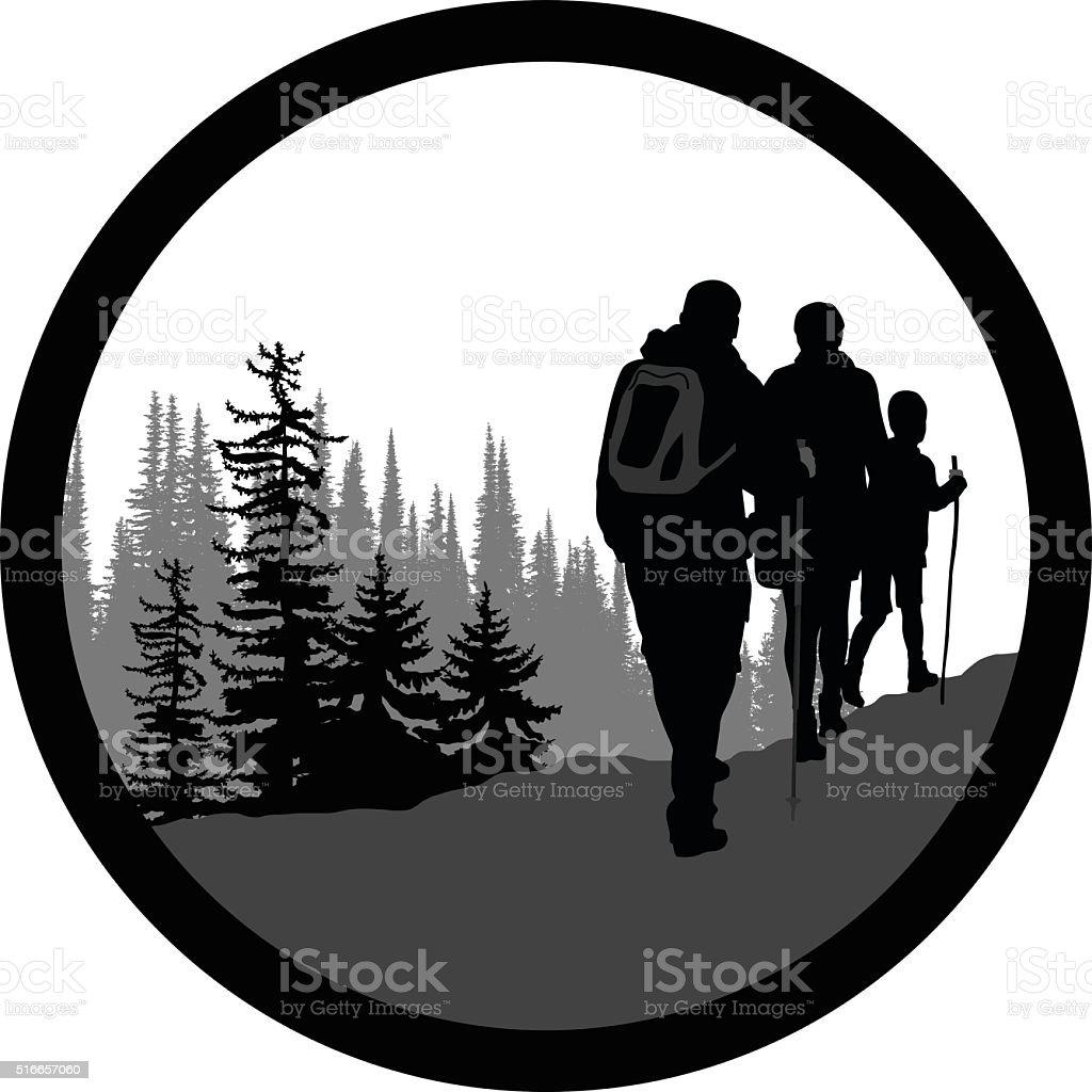 Iconic Hiking Family vector art illustration