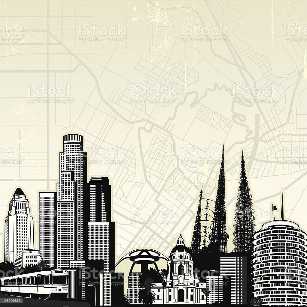 Iconic Los Angeles vector art illustration