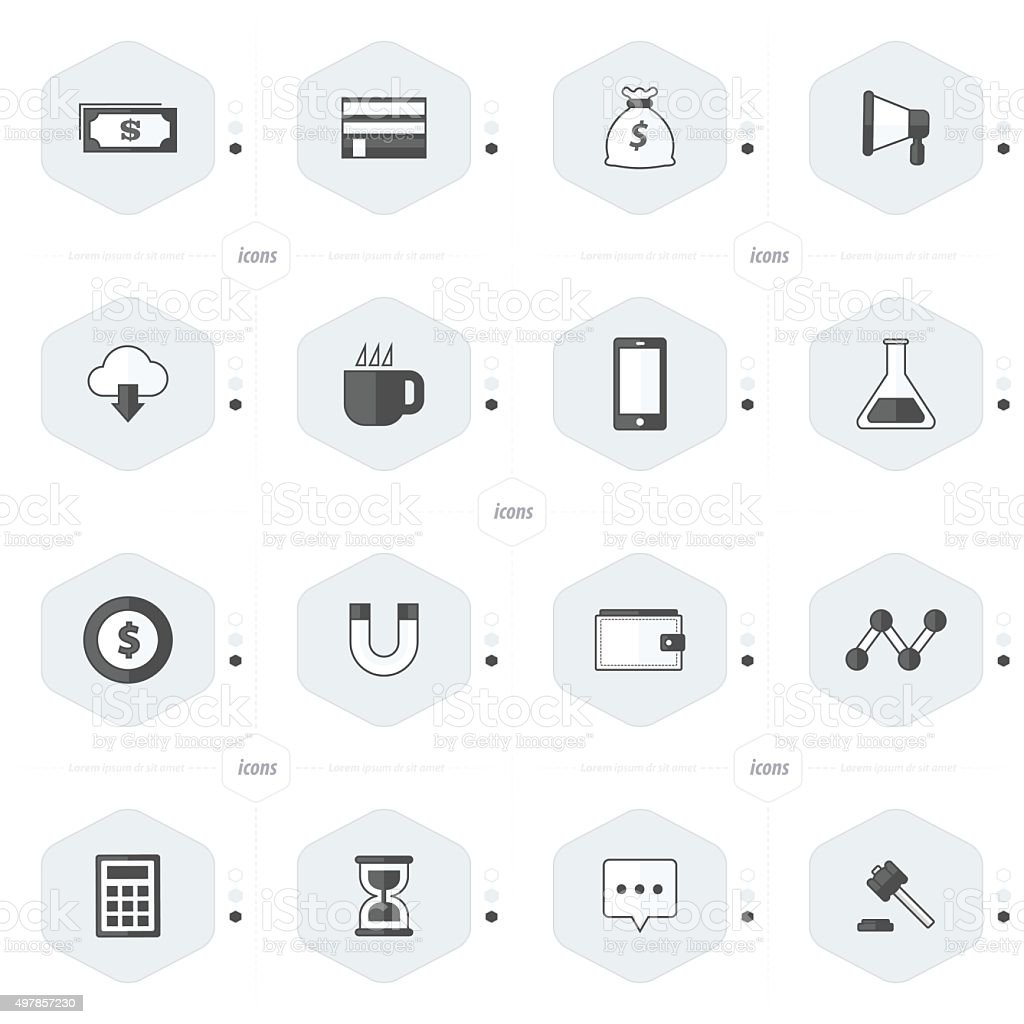 icons 16 in 1 set black and white color vector art illustration