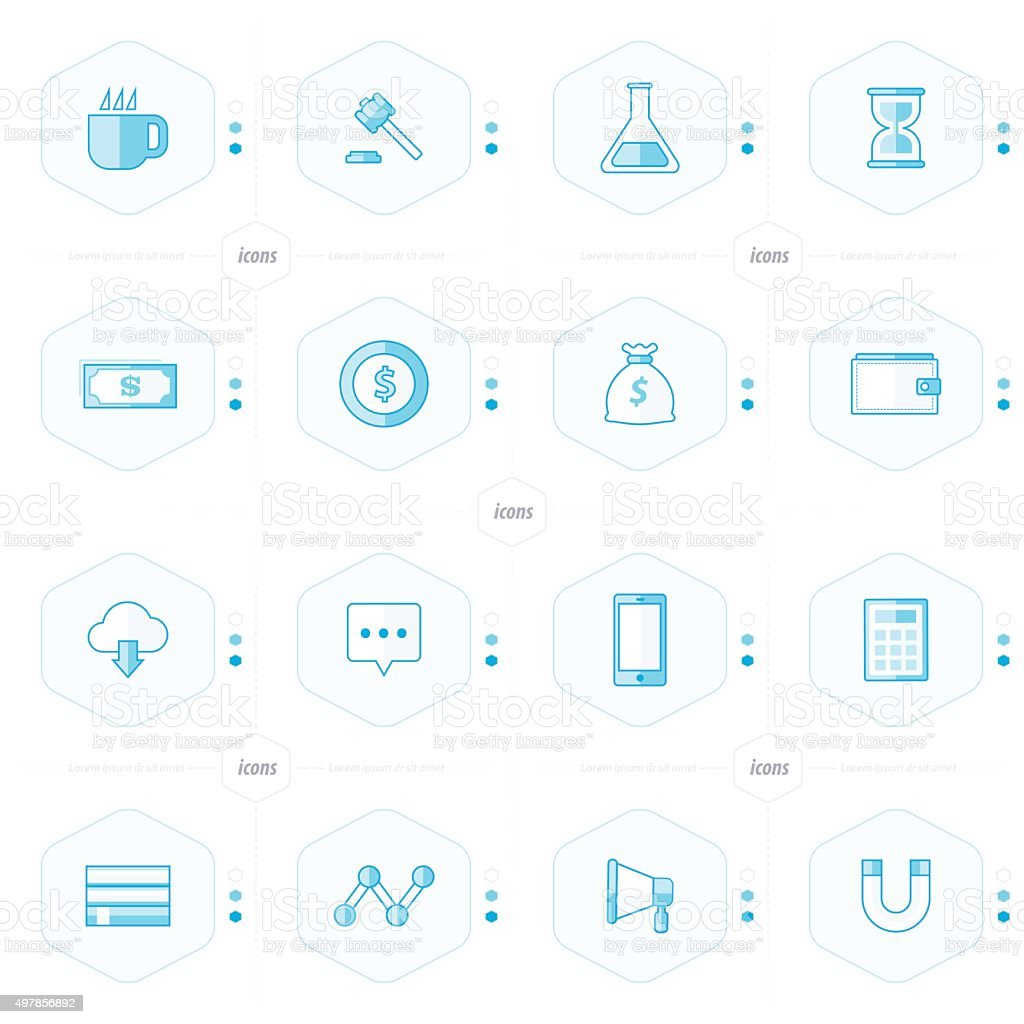 icons 16 in 1 set blue styles vector art illustration