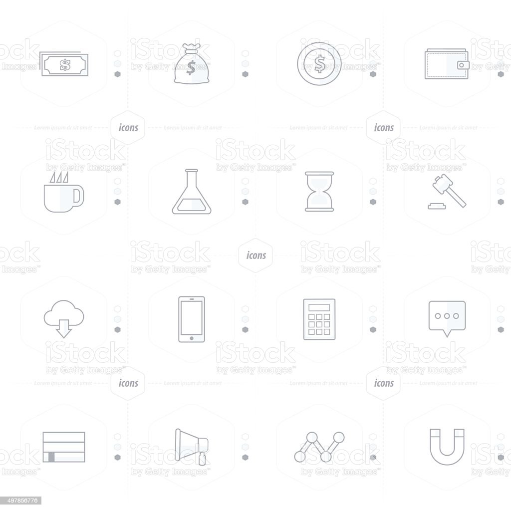 icons 16 ind 1 set line style vector art illustration