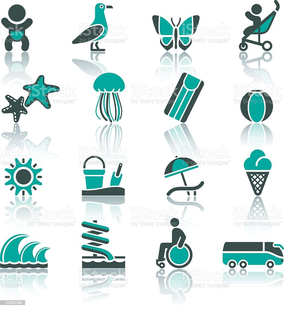 Icons about tourism, recreation, and vacation vector art illustration