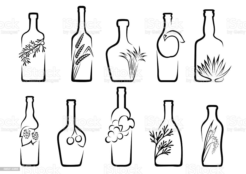 Icons alcoholic beverages vector art illustration