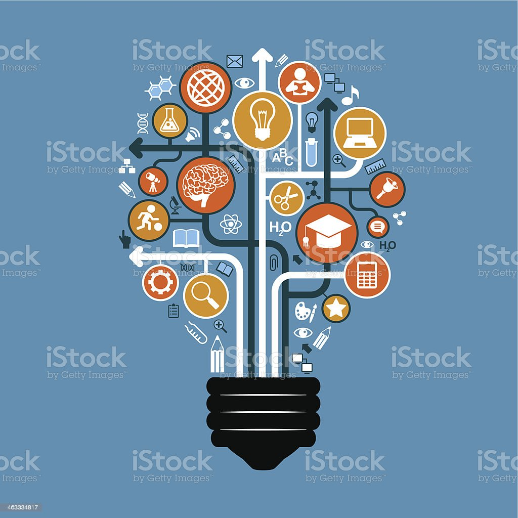 icons and arrows on education form a light bulb vector art illustration