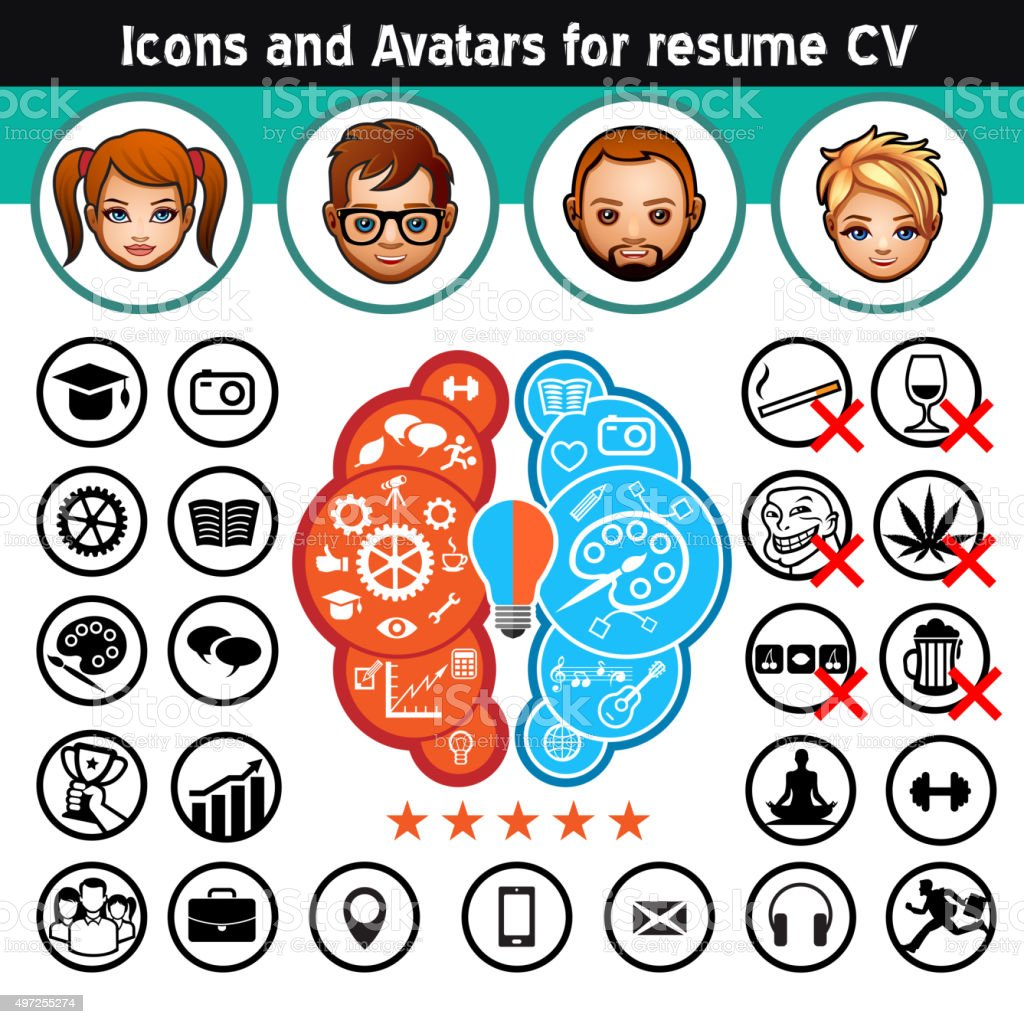 Icons and Avatars for resume vector art illustration